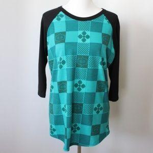 Lularoe Randy Casual Shirt Size L Green Black